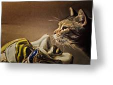 Cat With Venetian Mask Greeting Card