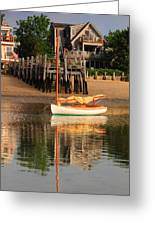 Catboat And Rippled Water Reflections Greeting Card