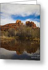 Cathedral Rock Reflections Portrait 2 Greeting Card by Darcy Michaelchuk