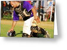 Caught At The Plate Greeting Card
