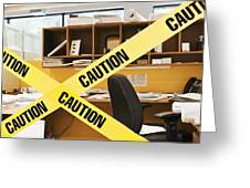 Caution Tape Blocking A Cubicle Entrance Greeting Card