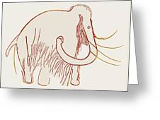 Cave Painting Of A Mammoth, Artwork Greeting Card