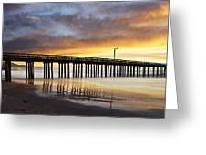 Cayucos Pier Reflected Greeting Card
