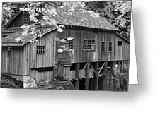 Cedar Creek Grist Mill Bw Greeting Card