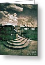 Cement Steps By A City Park Greeting Card