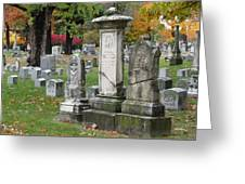 Cemtery Cracked Tombstones Greeting Card
