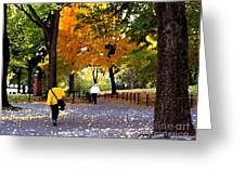 Central Park Fall Walk Greeting Card
