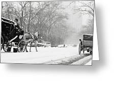 Central Park In Falling Snow Greeting Card by Axiom Photographic