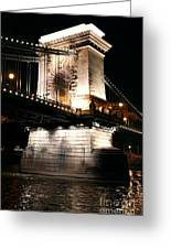Chain Bridge At Night Greeting Card
