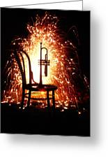 Chair And Horn With Fireworks Greeting Card