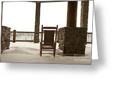 Chair On A Snowy Balcony Greeting Card