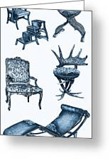 Chair Poster In Blue Greeting Card by Adendorff Design