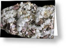 Chalcopyrite And Quartz Crystals Greeting Card