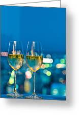 Champagne Glasses In Front Of A Window Greeting Card