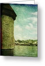 Chapel Bridge Tower In Lucerne Switzerland Greeting Card