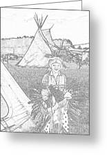 Charcole American Indian Children  Greeting Card