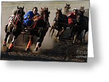 Rodeo Chariot Race Greeting Card