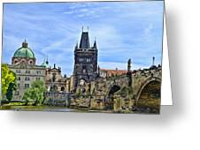 Charles Bridge And Church Dome Greeting Card