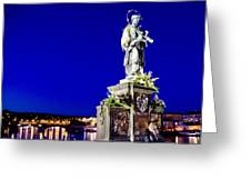 Charles Bridge Statue Of St John Of Nepomuk     Greeting Card by Jon Berghoff