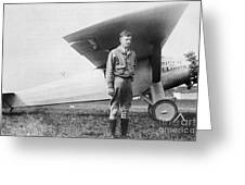 Charles Lindbergh American Aviator Greeting Card by Photo Researchers
