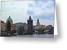 Charles Street Bridge And Old Town Prague Greeting Card