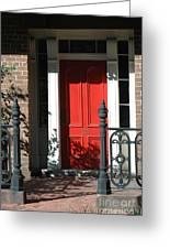 Charleston Red Door - Red White Black Door With Iron Gate Posts Greeting Card
