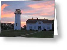 Chatham Lighthouse Sunset Greeting Card