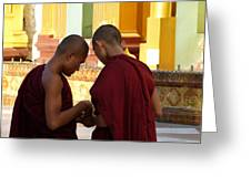 Chatting Monks Greeting Card