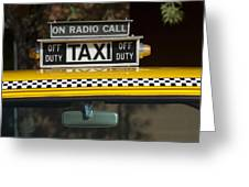 Checker Taxi Cab Duty Sign 2 Greeting Card