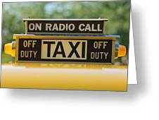 Checker Taxi Cab Duty Sign Greeting Card