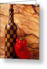 Checker Wine Bottle And Red Pepper Greeting Card by Garry Gay