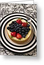 Cheese Cake On Black And White Plate Greeting Card