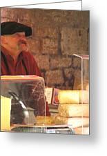 Cheese Seller At Sarlat Market Greeting Card