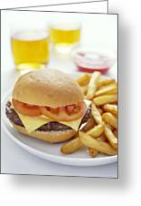 Cheeseburger And Chips Greeting Card by David Munns