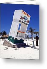 Chen Rio Beach Bar Sign Cozumel Mexico Greeting Card