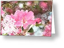 Cherry Blossom Art With Decorations Greeting Card