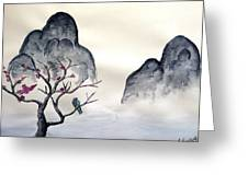 Cherry Blossom Mountains Greeting Card