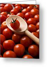 Cherry Tomatoes And Wooden Spoon Greeting Card