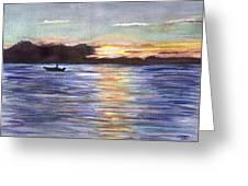 Chesapeake Dusk Boat Ride Greeting Card