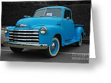 Chevy Pick-up With Bw Background Greeting Card