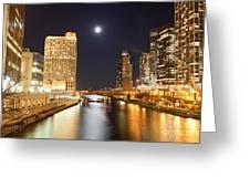 Chicago At Night At Columbus Drive Bridge Greeting Card