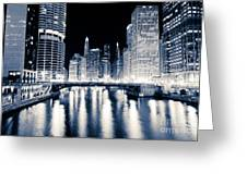Chicago At Night At Dearborn Street Bridge Greeting Card