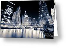 Chicago At Night At Michigan Avenue Bridge Greeting Card