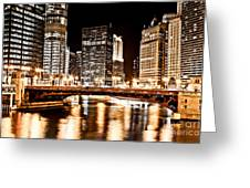Chicago At Night At State Street Bridge Greeting Card
