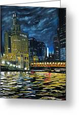 Chicago At Night Greeting Card by Peter Jackson