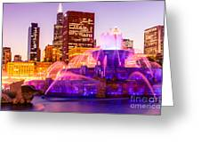 Chicago At Night With Buckingham Fountain Greeting Card by Paul Velgos