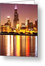 Chicago At Night With Willis-sears Tower Greeting Card by Paul Velgos