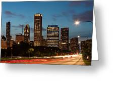 Chicago Business District At Dusk Greeting Card