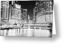 Chicago Cityscape At Night At Dusable Bridge Greeting Card