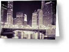 Chicago Cityscape At State Street Bridge Greeting Card